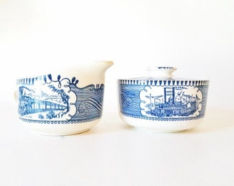 Vintage Currier Ives China Blue White Transferware China  Sugar Bowl Creamer Royal China Covered Sugar Bowl Creamer Set Blue White Bowls