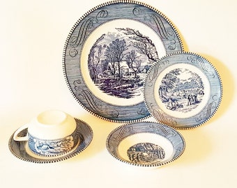 Vintage Plates Cups Saucers Bowls Vintage Dinnerware Currier Ives China Blue White China  Holiday Traditional Victorian Dinnerware Sets