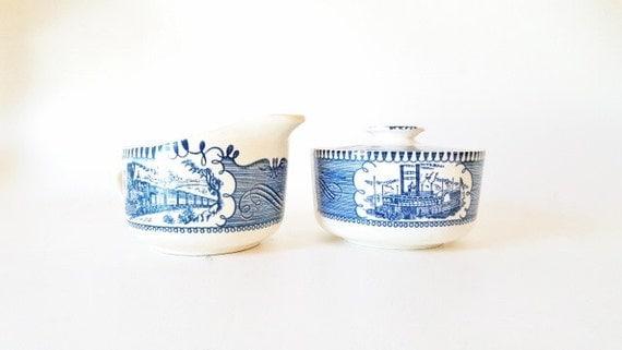 Vintage Currier Ives Sugar Bowl Creamer Royal China Covered Sugar Bowl Creamer Set Blue White China Midcentur Dinnerware  Gift