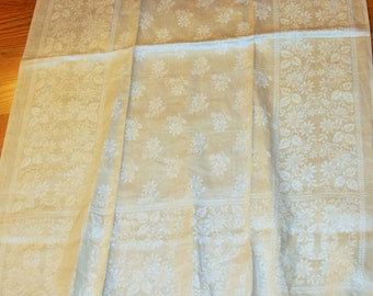 """Jacquard Ivory Runner with Braided Fringe - 25x66"""" Piano Scarf - Furniture Scarf"""
