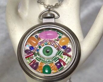 Large doll eye mosaic necklace in a pocket watch pendant FLAT RATE SHIPPING