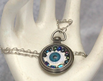 Mosaic Doll Eye pendant in a pocket watch FLAT RATE SHIPPING