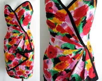 80s Cotton Sarong Wiggle Dress S M