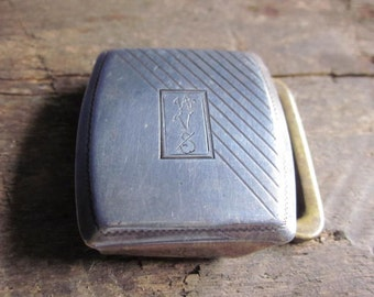 FREE SHIPPING Antique Sterling Silver Buckle Engraved with Initials W V S Marked QCB Mfg Co. Cinn. O.