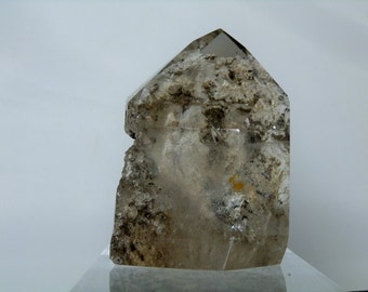 Display Mineral Quartz 3 inch Polished Natural Quartz Crystal with Beautiful Clay and Rutile Inclusions 262 grams From Minas Gerais Brazil