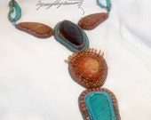 """Wings to Turquoise necklace """"  created by Lynn Parpard One of a Kind Art Piece made one bead at a time"""