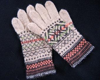 Hand knitted gloves. Patterned gloves, mittens. Beige, brown, orange, black. Soft Alpaca wool. Christmas gift. Estonian handcraft.
