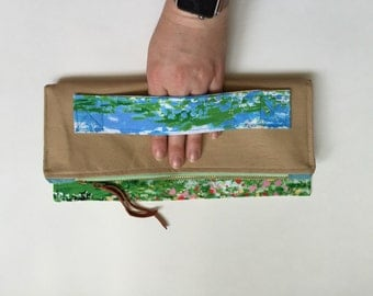 Tan watercolor clutch | fold over clutch