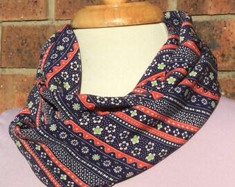 Silk infinity scarf, red, blue