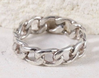Curb Chain Sterling Silver Ring