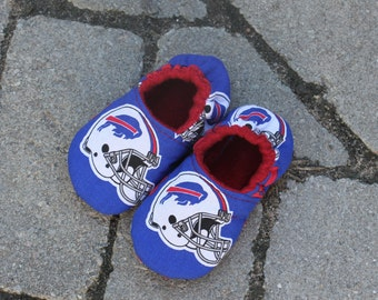 Slippers made with Buffalo Bills Fabric--ALL SIZES Infant -Adult
