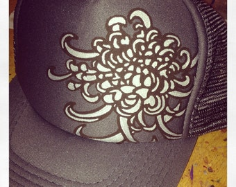 Slate grey trucker with hand silkscreened crysanthemum and hand painted silver fill