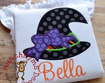 Witch Hat with Bow Halloween Applique Shirt - Girl's shirt - Halloween Applique Designs