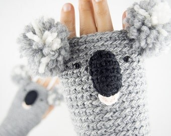 Koala Fingerless Gloves ~ Handmade