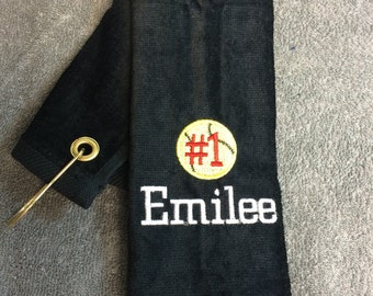 Personalized baseball towel or softball towel, team gift, school sports, with or without hook