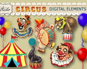 Vintage Circus Carnival digital clipart elements Instant Download,Scrapbook clip art, Invitations, Craft supplies, Decor, digital collage