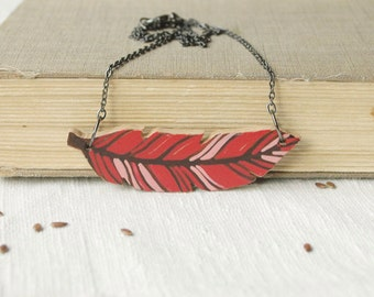 Red feather necklace,wooden pendant,red wood necklace