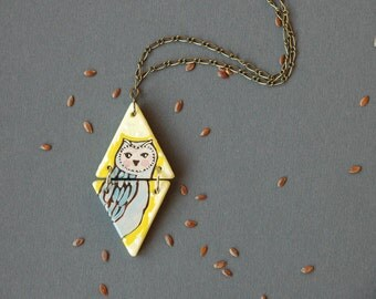 Owl necklace,hand painted owl pendant,wood necklace,triangle necklace,bird necklace,unique gift for her