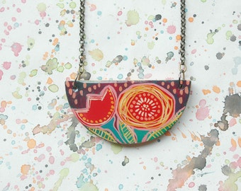 Colorful halfmoon necklace,wooden floral necklace,flower necklace