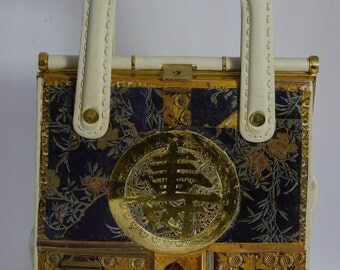 "vintage   handbag 1970's  "" CHINA "" unique piece art bag paris"