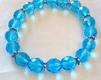 Ocean Blue Glass Crystal Stretch Bracelet