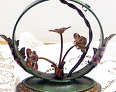 Antique Round Moe Bridges Table Lamp With Flowers and Leaves