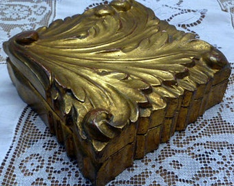 Vintage Gold Italian Jewelry Box