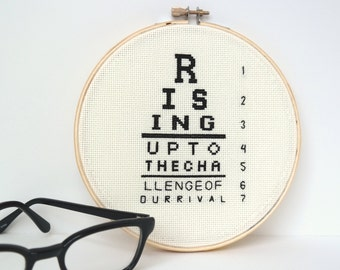 Eye of the Tiger Eye Chart | Modern cross stitch | 80s song lyrics