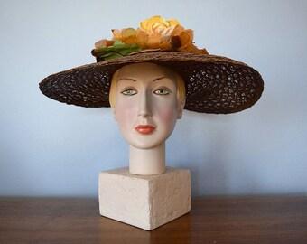 1940s straw hat . vintage 40s wide brim hat