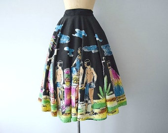 1950s circle skirt . vintage 50s Mexican hand painted sequin skirt