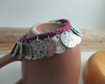 BellyDance Coin Bracelet, red & purple, hand braided with reclaimed cotton yarn