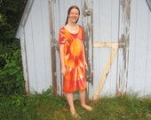 Cotton Knit Dress Hand Dyed in Gold, Red Wine, and Orange