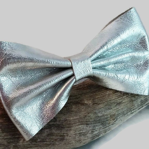 metallic silver leather bow tie mens bow tie womens