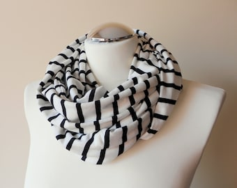 Striped Infinity Scarf / Light Ivory and Black Stripe Circle Scarf / Jersey Loop Neck Warmer / Sailor Style Handmade Scarves