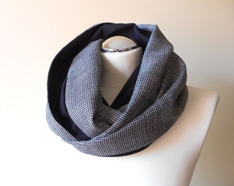 Houndstooth Infinity Scarf / Casual Gray and Black Circle Scarf / Autumn Loop Neck Warmer / Handmade Scarves
