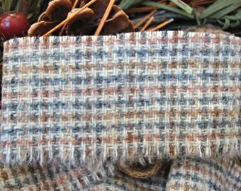 Vintage Brown Grey Peach Tartan Plaid Wool Frayed Edge Ribbon