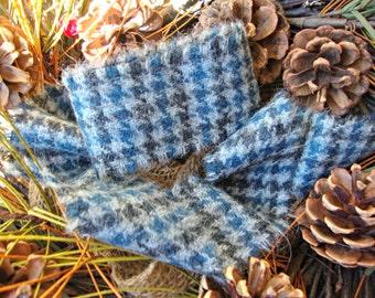 Vintage Charcoal Grey Blue Houndstooth Plaid Wool Frayed Edge Ribbon