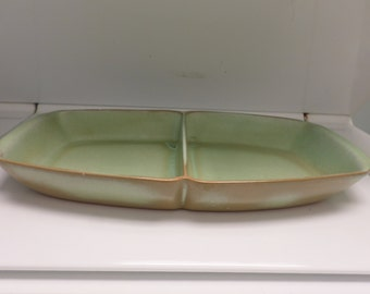 Vintage Frankoma Platter Divided Dish Pottery Ada Clay  50s Prarie Green Marked 5 Q D