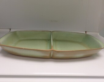 Frankoma Platter Divided Dish Pottery Ada Clay Rare  50s Prarie Green Marked 5 Q D