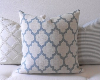 Double Sided Aqua Blue Moroccan Quatrefoil Decorative Throw Pillow Cover