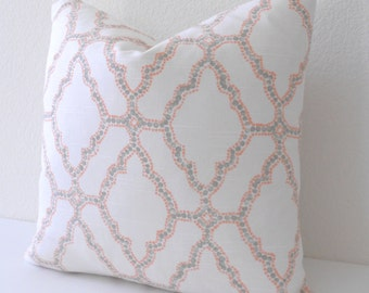 Coral orange and gray moroccan dotted trellis decorative pillow cover