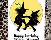 Sister Birthday greeting card gift thinking of you yellow Black witch witchy woman silhouette