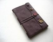 Buttons-Leather Journal-Burgandy-Handmade-Rag Doll-Thin-Travel-Sketch