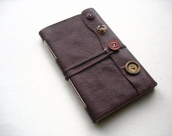 Buttons-Leather Journal-Burgandy-Handmade-Rag Doll-Thin-Travel-Sketch