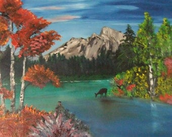 mountain and deer oil 24 by 24 on stretched canvas.number2