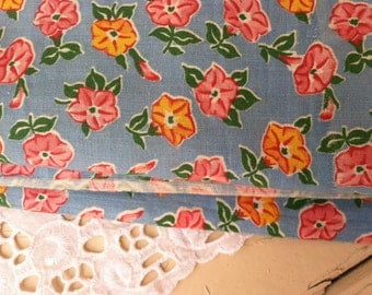 Vintage Floral Feedsack Fabric Yardage - Antique Sewing Material, Easter Fabric, Seamstress Supply, Home Decor Material, 4 yards of Fabric!
