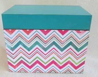 Chevron Recipe Box - Multi Color Chevron and Teal Wooden Recipe Box -  Keepsake Box - Personalized - Shower Gift