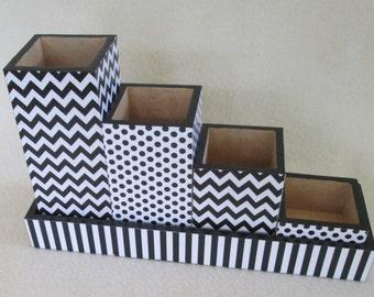 Desk Organizer - Desk Set - Penci Black Chevron - Black Polka Dot - Black Stripe - Gift