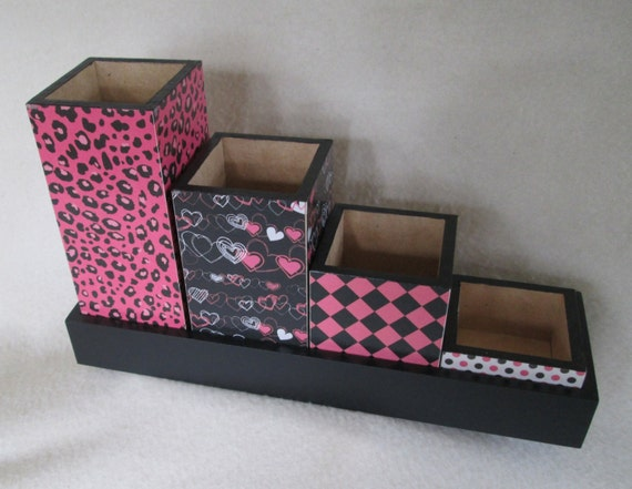 pink and black desk organizer desk set pencil cup by msw2011