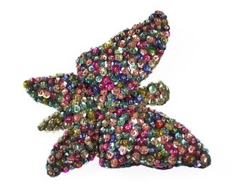 Very Large Multicolor Butterfly Brooch Sparkly Sequins Vintage Pin